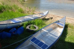 Canoes to use in exploring the lake